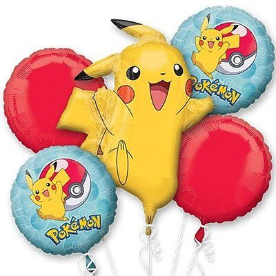 Pokemon Pikachu & Pokeball Birthday Party Supplies (5ct) Foil Bouquet Balloon - Balloon Pokemon