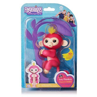 Fingerlings   Interactive Baby Monkey   Bella  Pink With Yellow Hair  By Wowwee