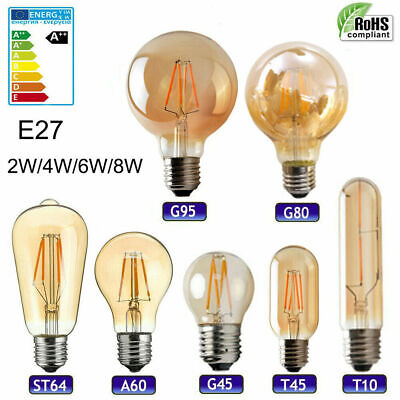 E27 LED Edison Bulb Vintage Filament Bulb Decorative Industrial Light Amber Warm