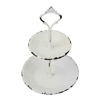 2 Tier White Farmhouse Vintage Old Style Dessert Snacks Serving Tray Home - Tiered Serving Tray