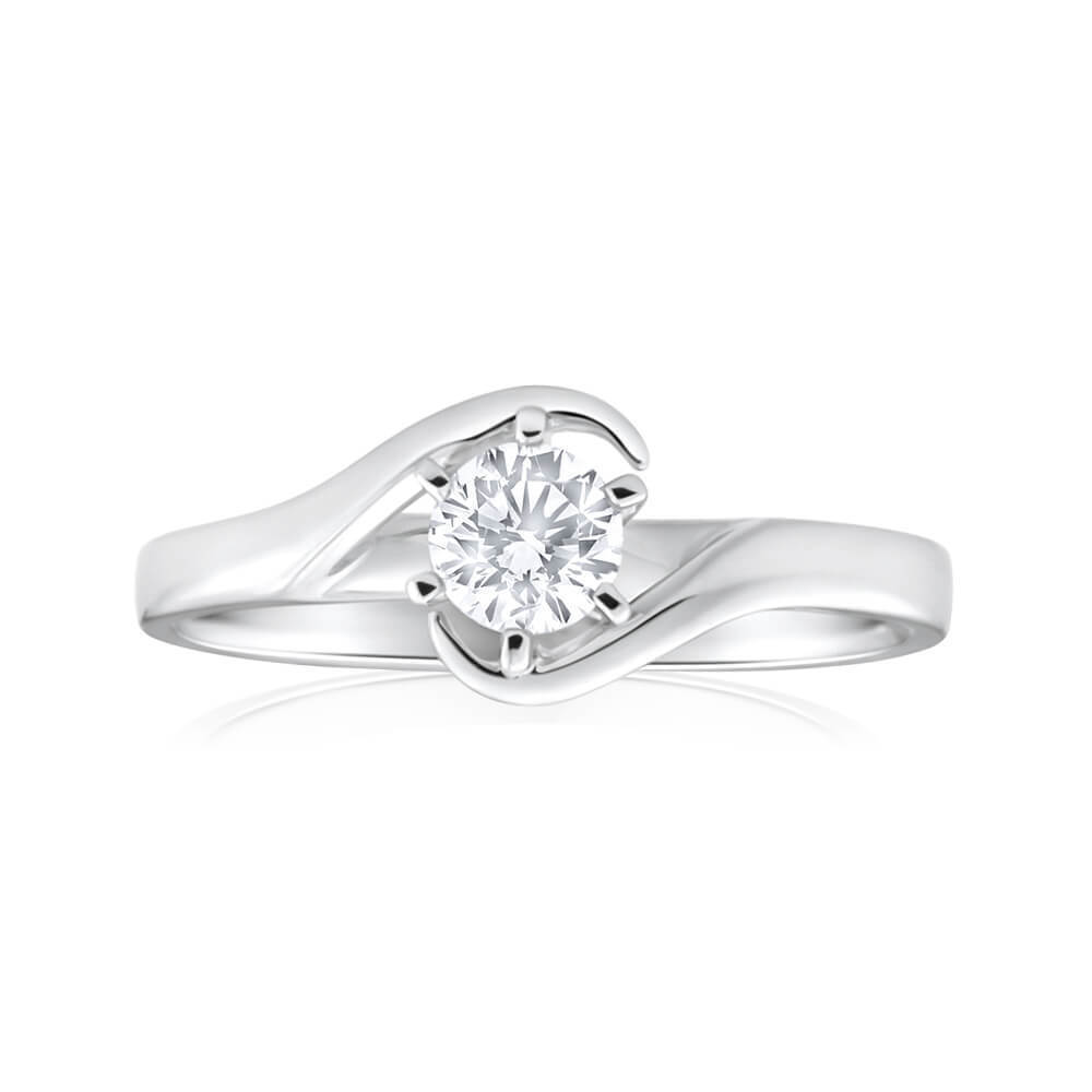 1/4 Cts F/VS1 GIA Certified Round Brilliant Cut Natural Diamond Ring In 14K Gold