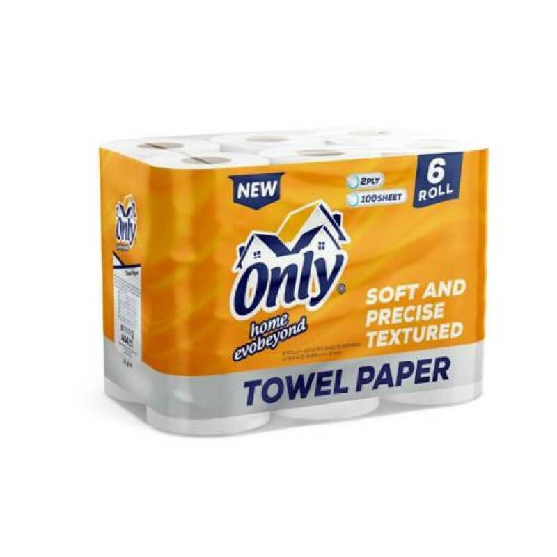 Only Paper Towels 2-Ply Soft Precise Textured Super Absorb 100 Sheet Ea, 6 Rolls