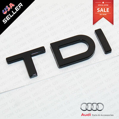 ABS Nameplate Audi TDI Gloss Black Emblem Trunk Lid Logo Badge Decoration