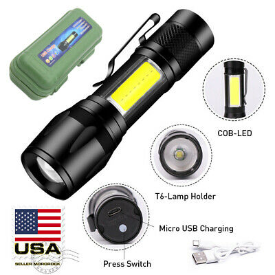 Mororock XPE COB LED 3 Modes Mini USB Rechargeable Flashlight Torch Zoom Lamp