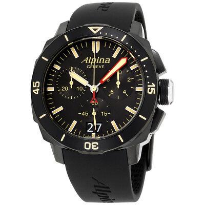 Alpina Seastrong Diver 300 Black Dial Silicone Strap Men's Watch AL-372LBBG4FBV6