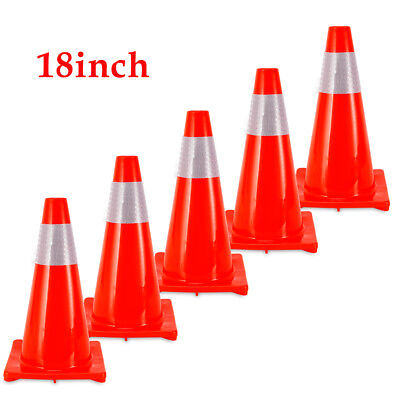 5 18 Inch Safety Traffic Cone With Reflective Caution Strips Wind Resistance
