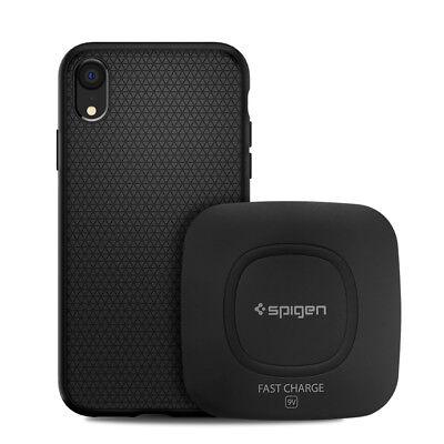 iPhone X/XS, XS MAX, XR Bundle Spigen [Clear or Black Case + Wireless Charger]