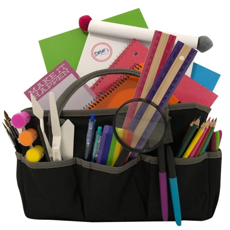 ARTIST TOTE BAG Storage Organizer w/ Pockets for Art, Crafts or Sewing Supplies