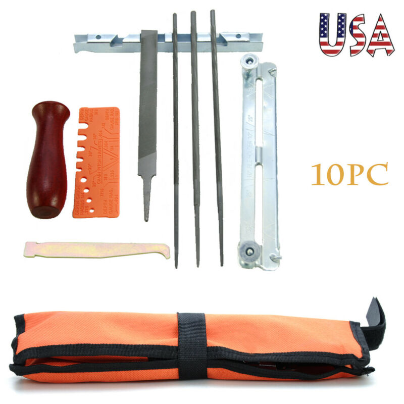 10X Chainsaw Chain Sharpening Kit Tool Set Guide Bar File Sharpener Tools US