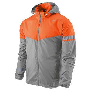 Nike Mens Orange Gray Zip Up Hood Long Sleeve Running