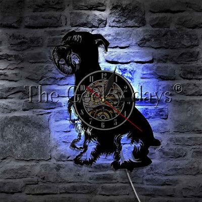 Mini Schnauzer Dog Canine Wall Clock Schnauzer Dog Breed Vinyl Record Wall Clock