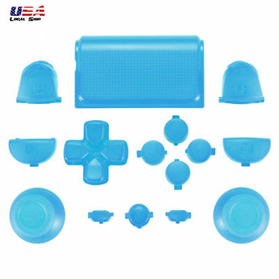 Buttons Set Dpad Replacement Parts for PS4 Remote Controller Light Blue (Lighted Controller)