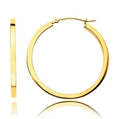 14K Yellow Gold Square Tube Hoop 20mm Earrings