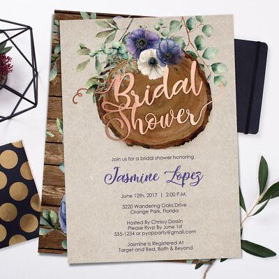 Bridal Shower Invitations - Watercolor Floral Purple Rustic Wood Greenery](Rustic Bridal Shower Invitations)