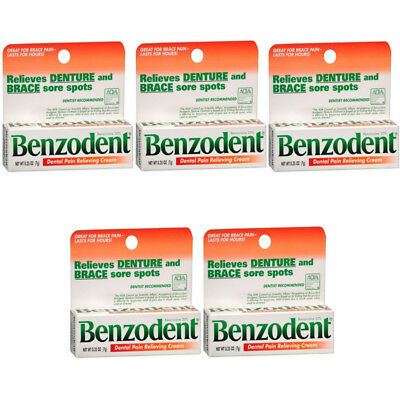 5 Pack Benzodent Denture Ointment - 0.25 Oz Each