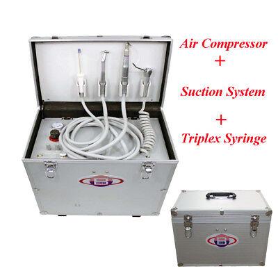 Portable Dental Turbine Unit Air Compressor Suction System Triplex Syringe