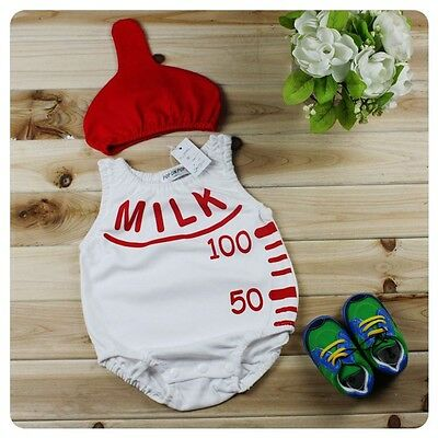 Baby Boy Girl Milk Bottle Christmas Fancy Party Costume Outfit Clothes+Hat Set (Milk Bottle Costume)