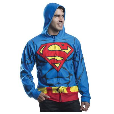Up Hoodie Sweatshirt DC Costume Cosplay Mens L/XL New (Superman Zip-up Hoodie)