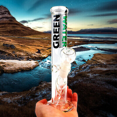 Bong WaterPipe Glass Ice Catcher 10 inch Clear Smoking Straight Tube Water -