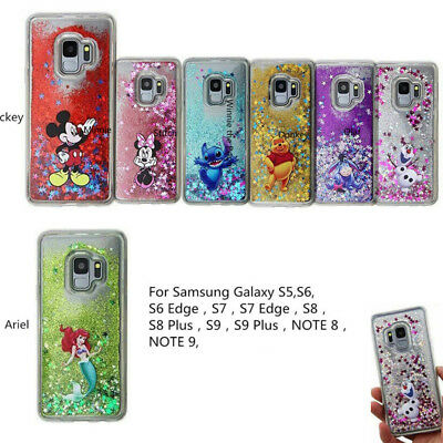 Disney Moving Glitter Liquid Phone Cover Case For Samsung Galaxy Note 9 S5 S7 S9