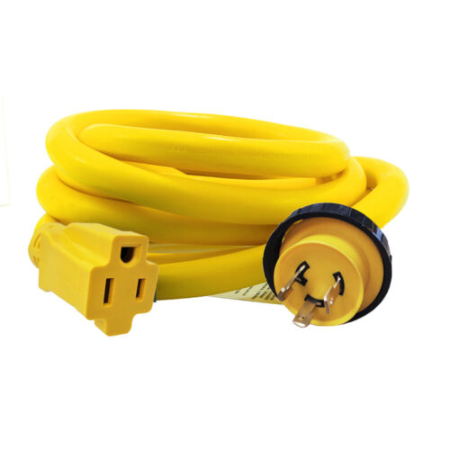 RV Pigtail Shore 30A Male L5-30P to 5-15R Female 15A 125V Adapter Power Cord US