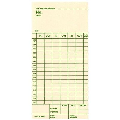 Semi-monthly Time Cards For Top-feed Acroprint Amano Lathemsimplex 1000 Ct.
