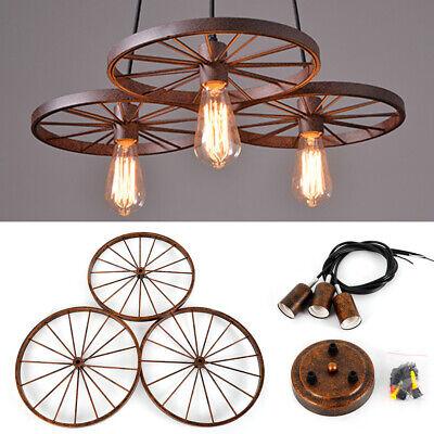 Chandelier Wagon Wheel Farmhouse Lighting Rustic Style Cabin Kitchen 3 Lights -