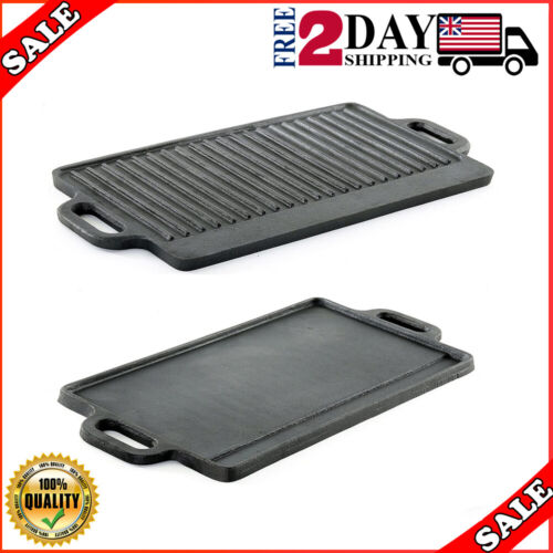 Professional Heavy Duty Reversible Double Burner Cast Iron Grill Griddle,