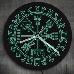 Vegvisir Compass Vikings Symbol Runes LED Neon Wall Clock with LED Backlight