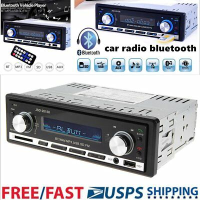In Dash Car Bluetooth Stereo Audio Mp3 Player Fm Radio Handsfree Calling Aux Usb