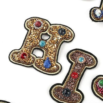 A-Z Patch Strass Patches zum Aufbügeln Aufnäher Buchstaben Pailletten Jeans Deko