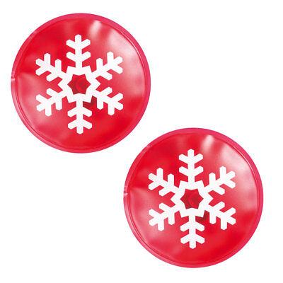 2 X Red Snowflake Hand Warmer Gel Christmas Winter Skiing Cold Reusable Heat