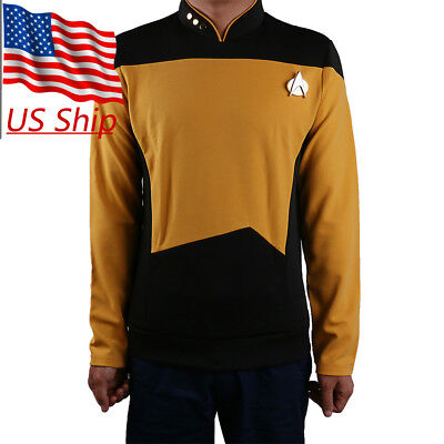 Star Trek TNG Uniform Cosplay Star Trek Gold Shirt Starfleet Commander Costumes (Star Trek Tng Uniforms)