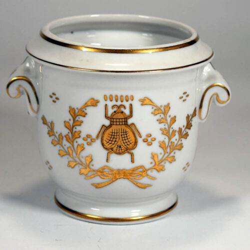 Original LJ Porcelain Gold Bee Urn Vase Planter