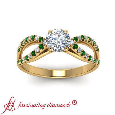 Round Cut Diamond And Emerald Gemstone Split Band Gold Engagement Ring 0.90 Ctw 1