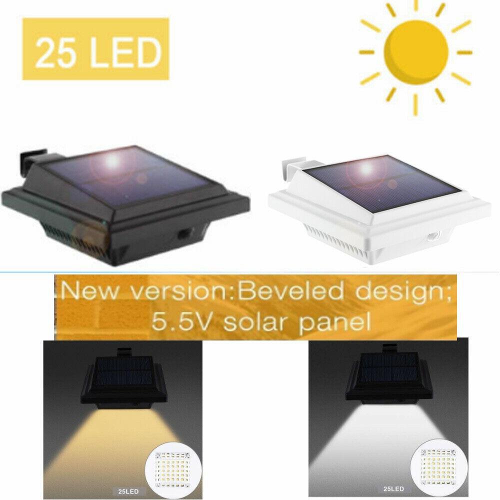 2/4/6/8pcs Outdoor Gutter Solar 25 LEDs Lights Yard Garden L