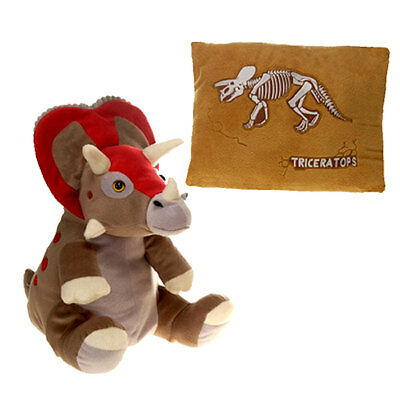 Peek-a-Boo 18'' Triceratops Dinosaur Plush & Pillow Stuffed Animal by Fiesta NEW