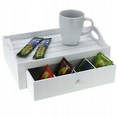 White Wooden Rectangular Serving Snack Tray with Storag TEA COFFEE SNACK SERVING White Rectangular Tray