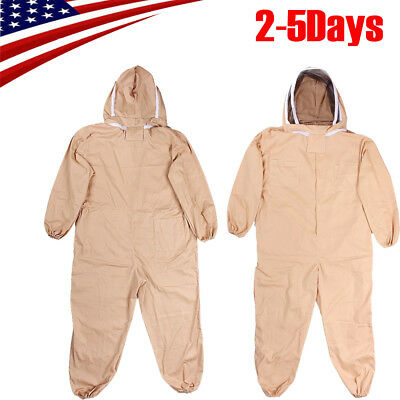 Lxlxxl Cotton Full Body Beekeeping Bee Keeping Suit W Veil Hood Khaki Safe
