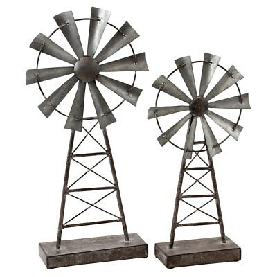 Aspire Home Accents Farmhouse Windmill Table Top Decor - Set of 2, Gray