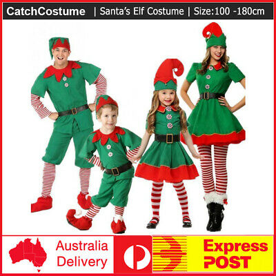 Cute Adult Costumes (Adult Ladies/Kids Elf Costume Cute Santa's Little Helper Christmas Fancy)