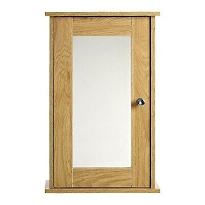 Premier Housewares 34x15x53cm Portland Oak Ven Wall Cabinet Mirr Door (15 Oak Wall Cabinet)