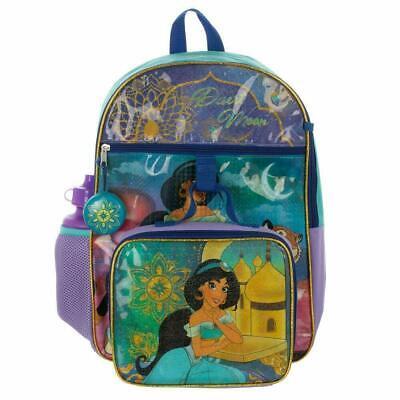 Disney Princess Jasmine Aladdin Girls School Backpack Lunch Box Book Bag 5PC SET