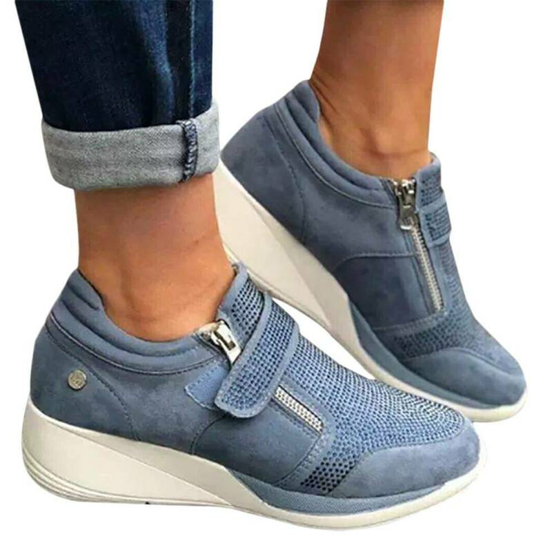 Womens Slip On Pumps Shoes Ladies Wedges Rhinestone Casual Loafers Trainers Size