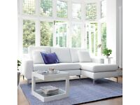 New Dwell Oslo Faux Leather Right Hand Corner Sofa in White Retail £1199!!!