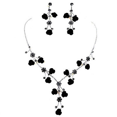 - Black Rose Flower Crystal Rhinestone Necklace & Earring  set for Wedding Bridal