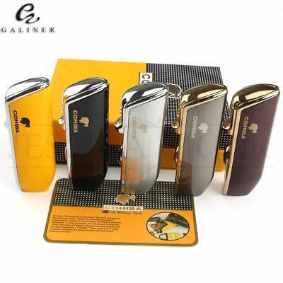 COHIBA Triple Torch Flame Pocket Cigar Cigarette Lighter Punch Refillable Butane ()