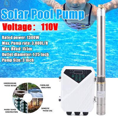 3 110v Dc Deep Well Solar Water Pump Submersible Mppt Controller Kit 3800lh