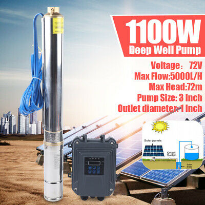 3 Dc Deep Bore Well Solar Water Pump 72v 1.5hp Submersible Mppt Controller Kit