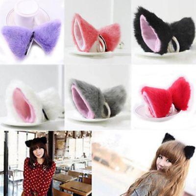 Cute Cat Ear Long Fur Ears Neko Costume Hair Clip Orecchiette Halloween Headwear